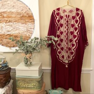 1970s heavily red heart embroidered ethnic caftan